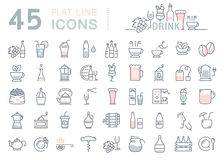 Set Vector Flat Line Icons Drinks and Alcohol Royalty Free Stock Photography