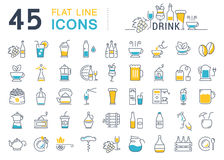 Set Vector Flat Line Icons Drinks and Alcohol Royalty Free Stock Images