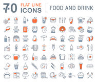 Set Vector Flat Line Icons Drinks and Food Stock Photo