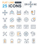 Set Vector Flat Line Icons Drones Stock Images
