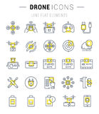 Set Vector Flat Line Icons Drones Royalty Free Stock Photography