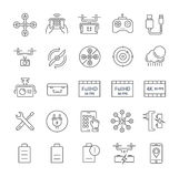 Set Vector Flat Line Icons Drones Stock Photo
