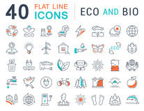 Set Vector Flat Line Icons Eco and Bio Stock Image
