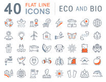 Set Vector Flat Line Icons Eco and Bio Royalty Free Stock Images