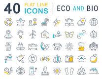 Set Vector Flat Line Icons Eco and Bio Royalty Free Stock Photos
