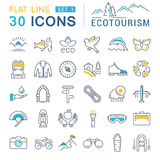 Set Vector Flat Line Icons Ecotourism. Set  line icons in flat design eco, ecotourism and recycle with elements for mobile concepts and web apps. Collection Stock Photography