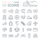 Set Vector Flat Line Icons Ecotourism. Set  line icons in flat design eco, ecotourism and recycle with elements for mobile concepts and web apps. Collection Stock Photos
