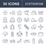 Set Vector Flat Line Icons Ecotourism. Set  line icons in flat design eco, ecotourism and recycle with elements for mobile concepts and web apps. Collection Royalty Free Stock Image