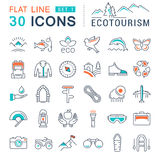 Set Vector Flat Line Icons Ecotourism. Set  line icons in flat design eco, ecotourism and recycle with elements for mobile concepts and web apps. Collection Stock Images