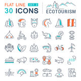 Set Vector Flat Line Icons Ecotourism. Set  line icons in flat design eco, ecotourism and recycle with elements for mobile concepts and web apps. Collection Royalty Free Stock Photos