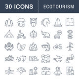 Set Vector Flat Line Icons Ecotourism. Set  line icons in flat design eco, ecotourism and recycle with elements for mobile concepts and web apps. Collection Royalty Free Stock Photo