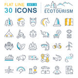 Set Vector Flat Line Icons Ecotourism. Set  line icons in flat design eco, ecotourism and recycle with elements for mobile concepts and web apps. Collection Royalty Free Stock Images