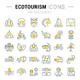 Set Vector Flat Line Icons Ecotourism. Set  line icons in flat design eco, ecotourism and recycle with elements for mobile concepts and web apps. Collection Stock Image