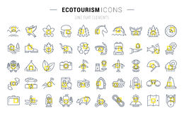 Set Vector Flat Line Icons Ecotourism. Set  line icons in flat design eco, ecotourism and recycle with elements for mobile concepts and web apps. Collection Royalty Free Stock Photography