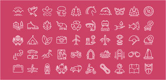 Set Vector Flat Line Icons Ecotourism. Set  line icons in flat design eco, ecotourism and recycle with elements for mobile concepts and web apps. Collection Stock Photo