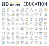 Set Vector Flat Line Icons Education Stock Photos