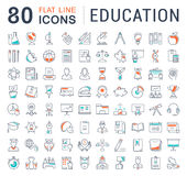 Set Vector Flat Line Icons Education royalty free illustration