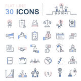 Set Vector Flat Line Icons Elections Stock Images