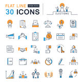 Set Vector Flat Line Icons Elections Royalty Free Stock Images