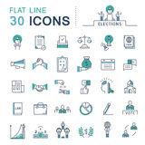 Set Vector Flat Line Icons Elections. Set  line icons in flat design voting and elections. Collection politics symbol with elements for mobile concepts and web Stock Photography