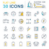 Set Vector Flat Line Icons Electric Cars Stock Photo