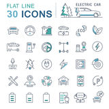 Set Vector Flat Line Icons Electric Cars Royalty Free Stock Image