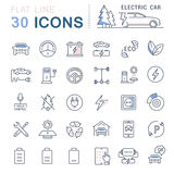 Set Vector Flat Line Icons Electric Cars Royalty Free Stock Photo