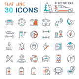 Set Vector Flat Line Icons Electric Cars Royalty Free Stock Images