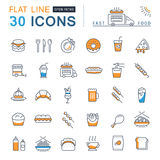 Set Vector Flat Line Icons Fast Food Royalty Free Stock Photography