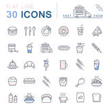 Set Vector Flat Line Icons Fast Food and Junk Food Royalty Free Stock Image