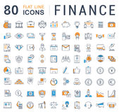 Set Vector Flat Line Icons Finance Royalty Free Stock Photography