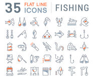Set Vector Flat Line Icons Fishing Royalty Free Stock Photography