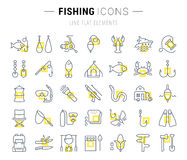 Set Vector Flat Line Icons Fishing Royalty Free Stock Image
