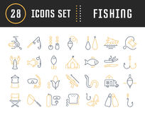 Set Vector Flat Line Icons Fishing Stock Photo