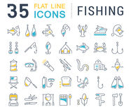 Set Vector Flat Line Icons Fishing Stock Photography