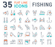 Set Vector Flat Line Icons Fishing Stock Image