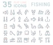 Set Vector Flat Line Icons Fishing. Set  line icons, sign and symbols in flat design fishing with elements for mobile concepts and web apps. Collection modern Stock Photos