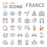 Set Vector Flat Line Icons France and Paris. Set  line icons in flat design France, Paris and Europe with elements for mobile concepts and web apps. Collection Royalty Free Stock Photography