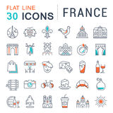 Set Vector Flat Line Icons France and Paris Royalty Free Stock Photography
