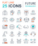 Set Vector Flat Line Icons Future Technology. Set  line icons in flat design future technology, eco energy, smart tech and electric transportation with elements Stock Photo
