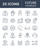 Set Vector Flat Line Icons Future Technology Royalty Free Stock Photo