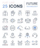 Set Vector Flat Line Icons Future Technology Royalty Free Stock Image