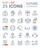 Set Vector Flat Line Icons Future Technology. Set  line icons in flat design future technology, eco energy, smart tech and electric transportation with elements Royalty Free Stock Image
