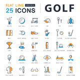 Set Vector Flat Line Icons Golf Stock Images