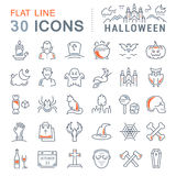 Set Vector Flat Line Icons Halloween Royalty Free Stock Photography