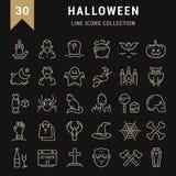 Set Vector Flat Line Icons Halloween Royalty Free Stock Photos