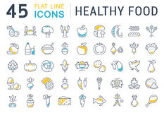 Set Vector Flat Line Icons Healthy Food Stock Photo