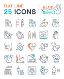 Set Vector Flat Line Icons Heart Defect Royalty Free Stock Images