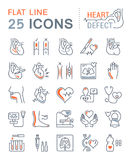 Set Vector Flat Line Icons Heart Defect Royalty Free Stock Photos