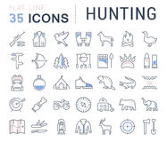 Set Vector Flat Line Icons Hunting Stock Image